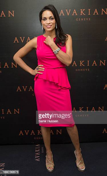 Rosario Dawson visits the Avakian suite wearing Avakian jewellery during the 66th Cannes Film Festival on May 22 2013 in Cannes France