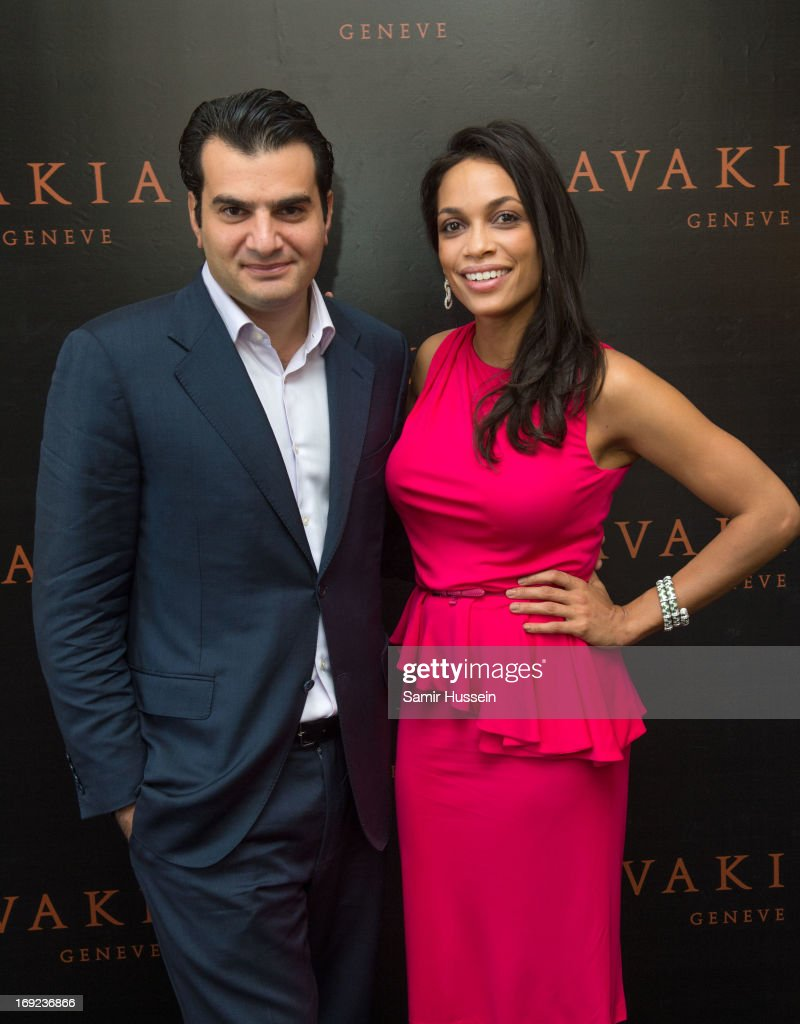 Rosario Dawson wearing Avakian jewellery and Haig Avakian visit the Avakian suite during the 66th Cannes Film Festival on May 22, 2013 in Cannes, France.