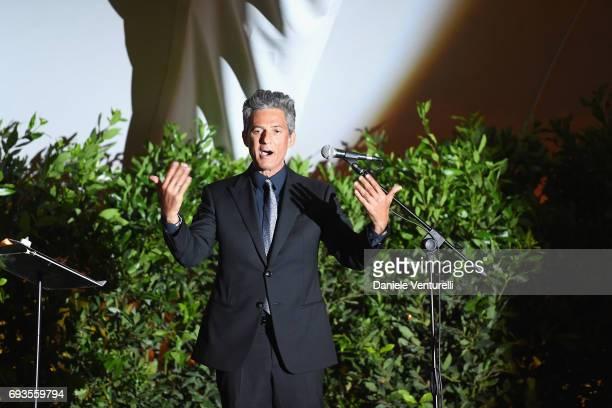 Rosario Fiorello on the stage of McKim Medal Gala at Villa Aurelia on June 7 2017 in Rome Italy