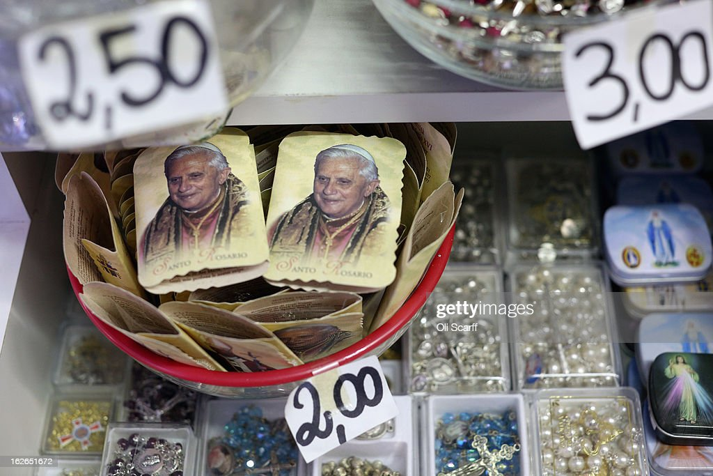Rosary beads bearing the image of Pope Benedict XVI are displayed for sale on February 25, 2013 in Rome, Italy. The Pontiff will hold his last weekly public audience on February 27, 2013 before he retires the following day. Pope Benedict XVI has been the leader of the Catholic Church for eight years and is the first Pope to retire since 1415. He cites ailing health as his reason for retirement and will spend the rest of his life in solitude away from public engagements.