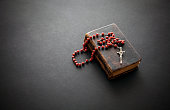 Rosary on the old Bible