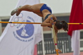 Rosbeilys Peinado of Venezuela competes during Women's Pole Vault event as part of the I ODESUR South American Youth Games at Estadio Miguel Grau on...