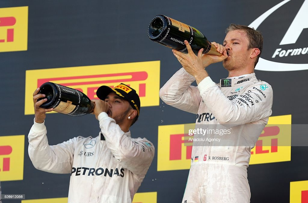 N. Rosberg (L) and L. Hamilton (R) are seen during award ceremony after the Formula One Grand Prix of Russia at Sochi Autodrom in Sochi, Russia on May 01, 2016.
