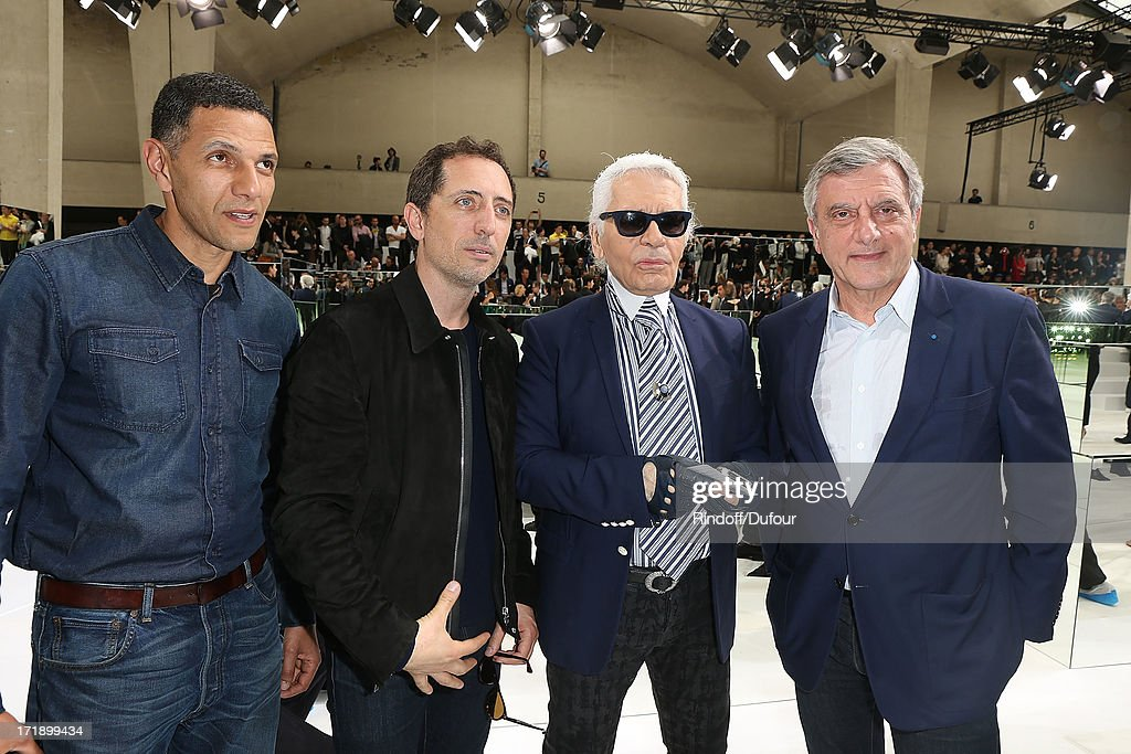 Roschdy Zem, Gad Elmalah, Karl Lagerfeld and Sidney Toledano attend Dior Homme Menswear Spring/Summer 2014 show as part of Paris Fashion Week on June 29, 2013 in Paris, France.
