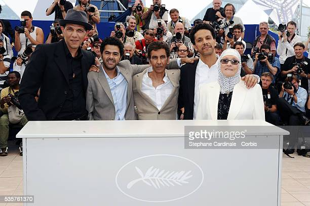 Roschdy Zem Jamel Debbouze Rachid Bouchareb Sami Bouajila and Chafia Boudraa at the photocall for 'Outside of the law' during the 63rd Cannes...