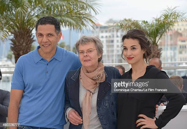 Roschdy Zem Pascale Ferran and Camelia Jordana attends the 'Bird People' Photocall at the 67th Annual Cannes Film Festival on May 19 2014 in Cannes...