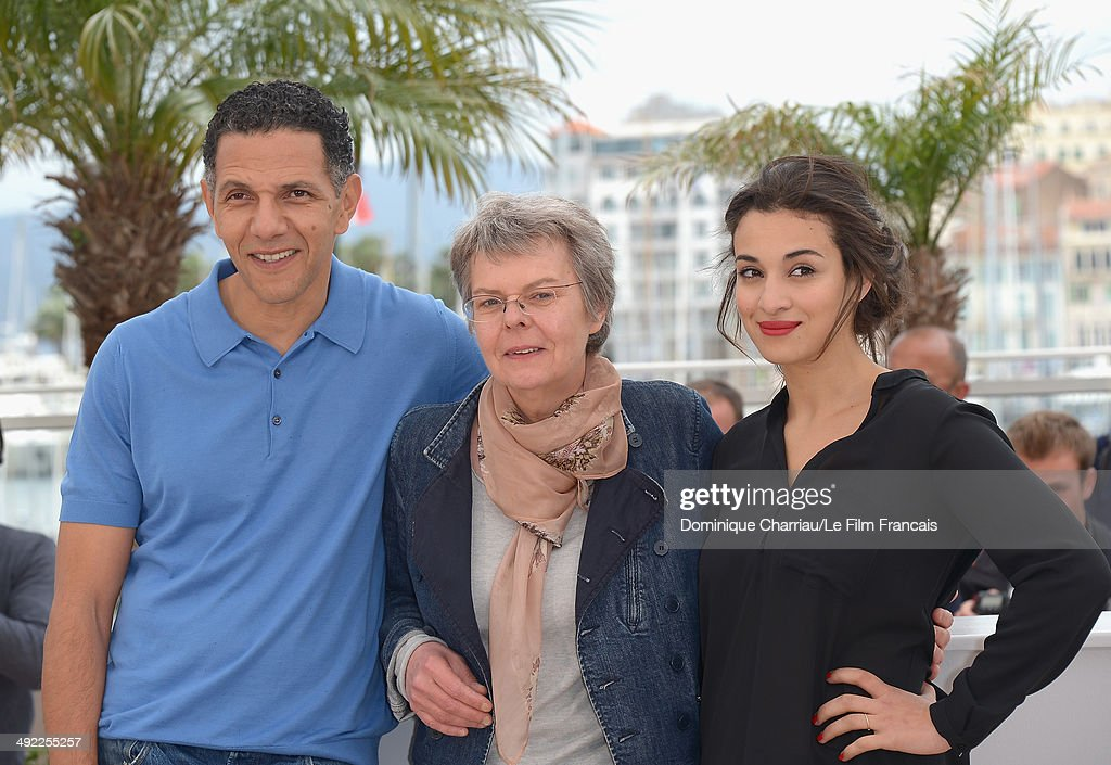 Roschdy Zem, Pascale Ferran and Camelia Jordana attends the 'Bird People' Photocall at the 67th Annual Cannes Film Festival on May 19, 2014 in Cannes, France.