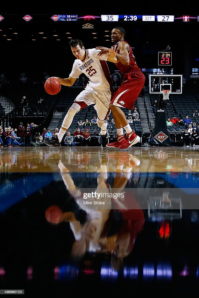 Rosco Allen of the Stanford Cardinal drives to the basket against Arkansas Razorbacks at Barclays Center on November 27 2015 in Brooklyn borough of...