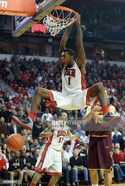 Roscoe Smith of the UNLV Rebels dunks during a game against the Arizona State Sun Devils at the Thomas Mack Center on November 19 2013 in Las Vegas...