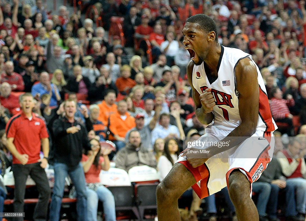 Roscoe Smith #1 of the UNLV Rebels reacts after dunking against the Illinois Fighting Illini during their game at the Thomas & Mack Center on November 26, 2013 in Las Vegas, Nevada. Illinois won 61-59.