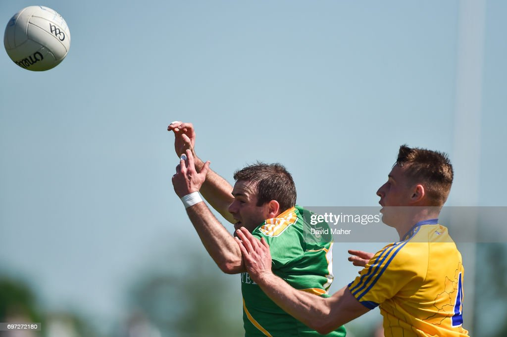 Roscommon , Ireland - 18 June 2017; Brendan Gallagher of Leitrim in action against Niall McInerney of Roscommon during the Connacht GAA Football Senior Championship Semi-Final match between Roscommon and Leitrim at Dr Hyde Park in Roscommon.