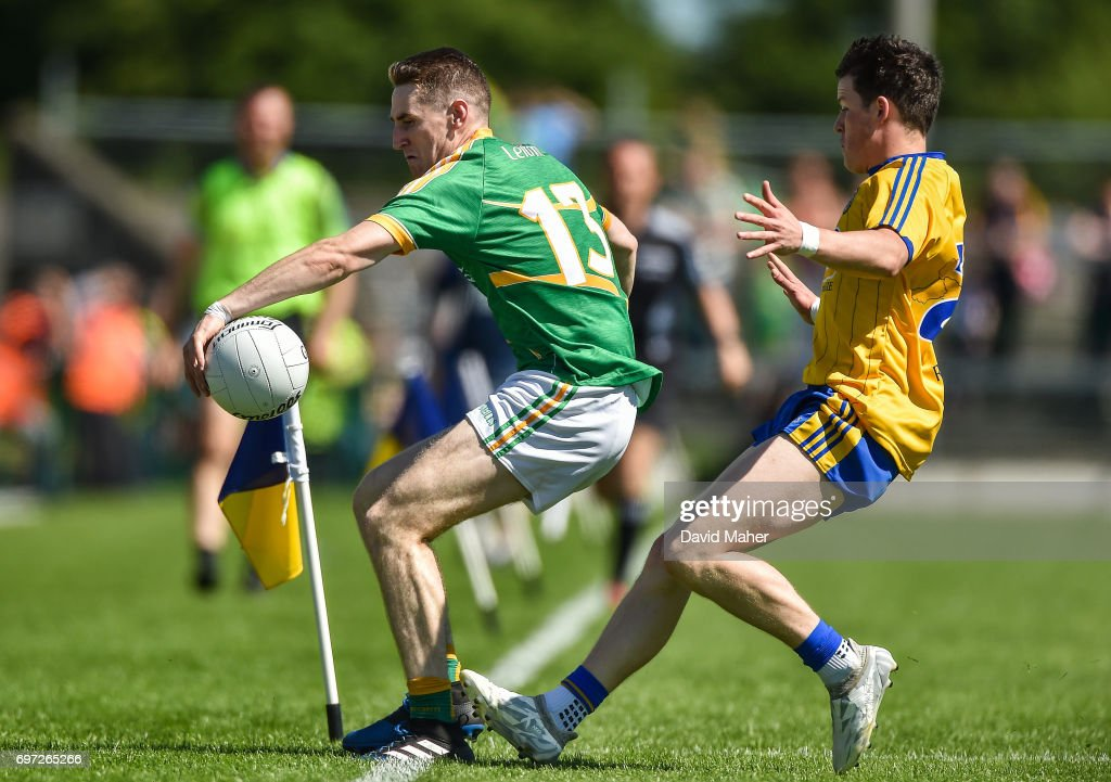 Roscommon , Ireland - 18 June 2017; Keith Beirne of Leitrim in action against of Gary Patterson of Roscommon during the Connacht GAA Football Senior Championship Semi-Final match between Roscommon and Leitrim at Dr Hyde Park in Roscommon.