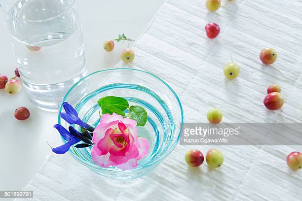 Rose and fruits in water glasses