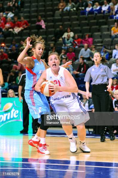 Rose Anderson of Great Britain drives against Atlanta Dream during the WNBA Live Manchester 2011 match between Atlanta Dream and Great Britain at...