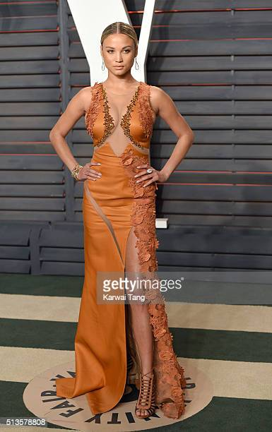 Rose Bertram attends the 2016 Vanity Fair Oscar Party Hosted By Graydon Carter at Wallis Annenberg Center for the Performing Arts on February 28 2016...