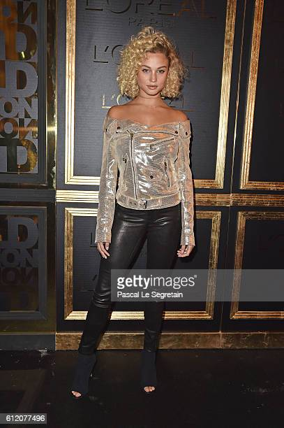 Rose Bertram attends the Gold Obsession Party L'Oreal Paris Photocall as part of the Paris Fashion Week Womenswear Spring/Summer 2017 on October 2...
