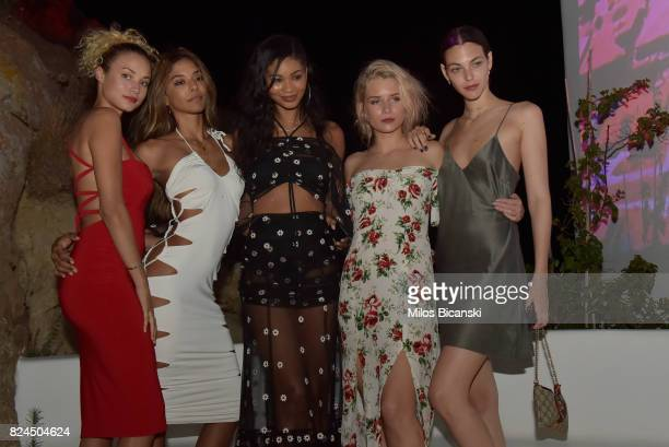 Rose Bertram Heidy De La Rosa Chanel Iman Lottie Moss and Vittoria Ceretti pose for a photo during the Velocity Black party on July 29 2017 in...