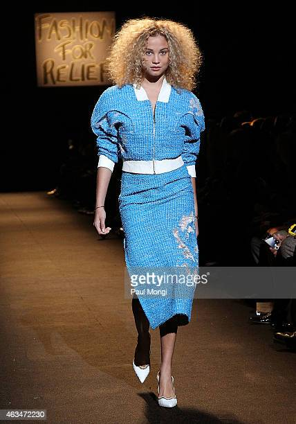 Rose Bertram walks the runway at Naomi Campbell's Fashion For Relief Charity Fashion Show during MercedesBenz Fashion Week Fall 2015 at The Theatre...