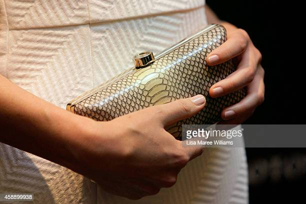 Rose Byrne holds a Oroton clutch bag as she arrives at Oroton Boutique Queen Victoria Building on November 13 2014 in Sydney Australia