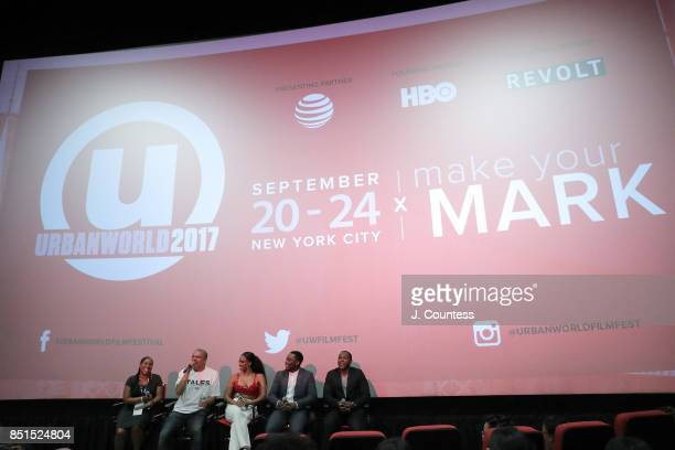 Rose Catherine Pinkney executive producer Irv Gotti actors Michelle Mitchenor Woody McClain and Jermel Howard speak during the QnA at the 21st Annual...