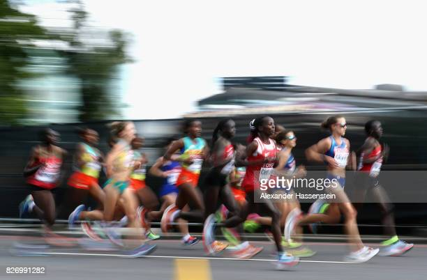 Rose Chelimo of Bahrain competes on the way to winning the Women's Marathon during day three of the 16th IAAF World Athletics Championships London...