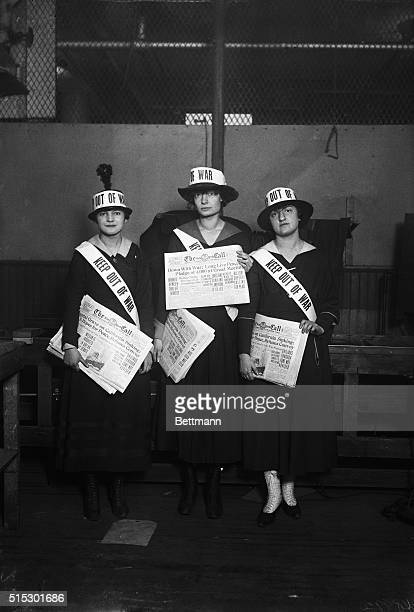 Rose Cohn journalist Dorothy Day and Charlotte Margolies wearing sashes stating 'Keep Out of War' in protest to US involvement in World War I