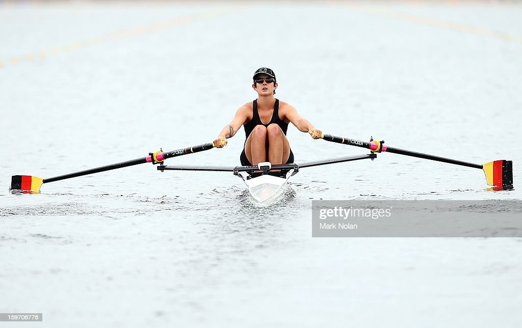 Rose Cooks of New Zealand competes in the Women's Singles Sculls at the rowing on day four of the Australian Youth Olympic Festival at Sydney International Regatta Centre on January 19, 2013 in Sydney, Australia.