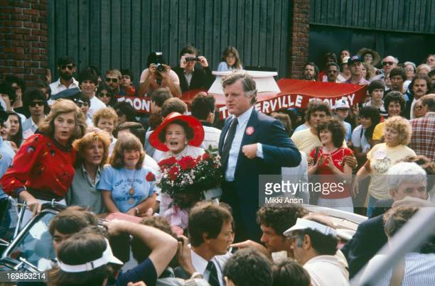 Rose Fitzgerald Kennedy celebrates her 90th birthday with a parade through the streets of Hyannis Port Massachusetts 22nd July 1980 With her is her...