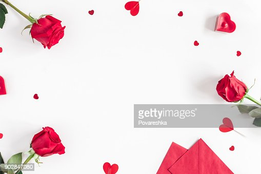 Rose flowers, gifts, confetti. Valentines day. Flat lay, top view : Stock Photo