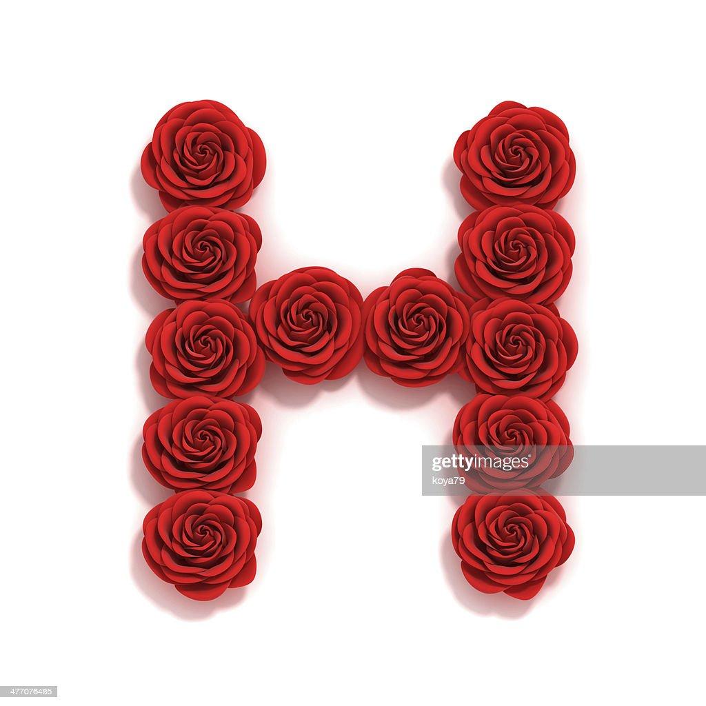 Rose Font Letter H : Stock Photo