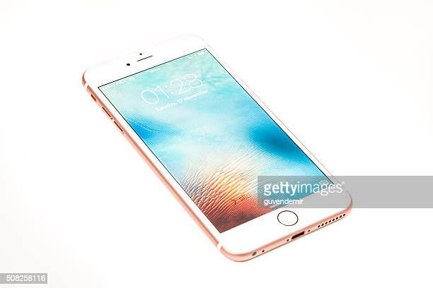 Rose Gold iPhone 6s Plus Isolated on White