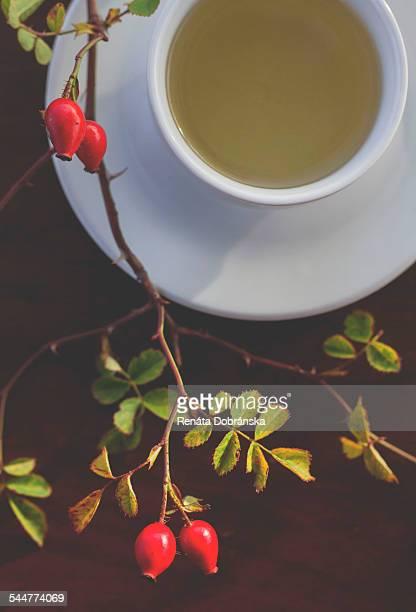 Rose hip tea and fresh rose hips