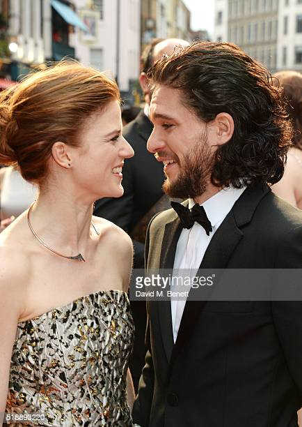 Rose Leslie and Kit Harington arrive at The Olivier Awards with Mastercard at The Royal Opera House on April 3 2016 in London England