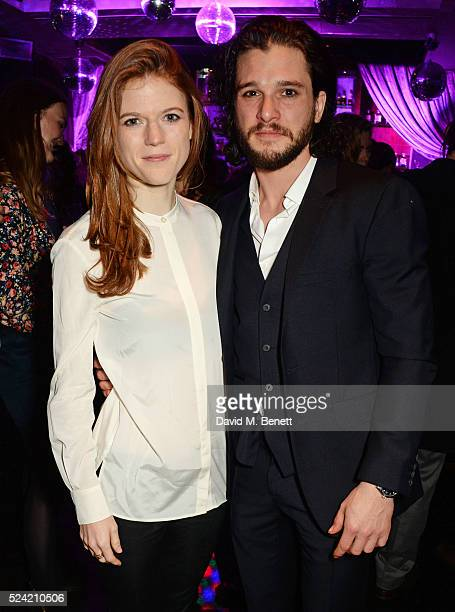Rose Leslie and Kit Harington attend the Gala Night performance of 'Doctor Faustus' at The Cuckoo Club on April 25 2016 in London England