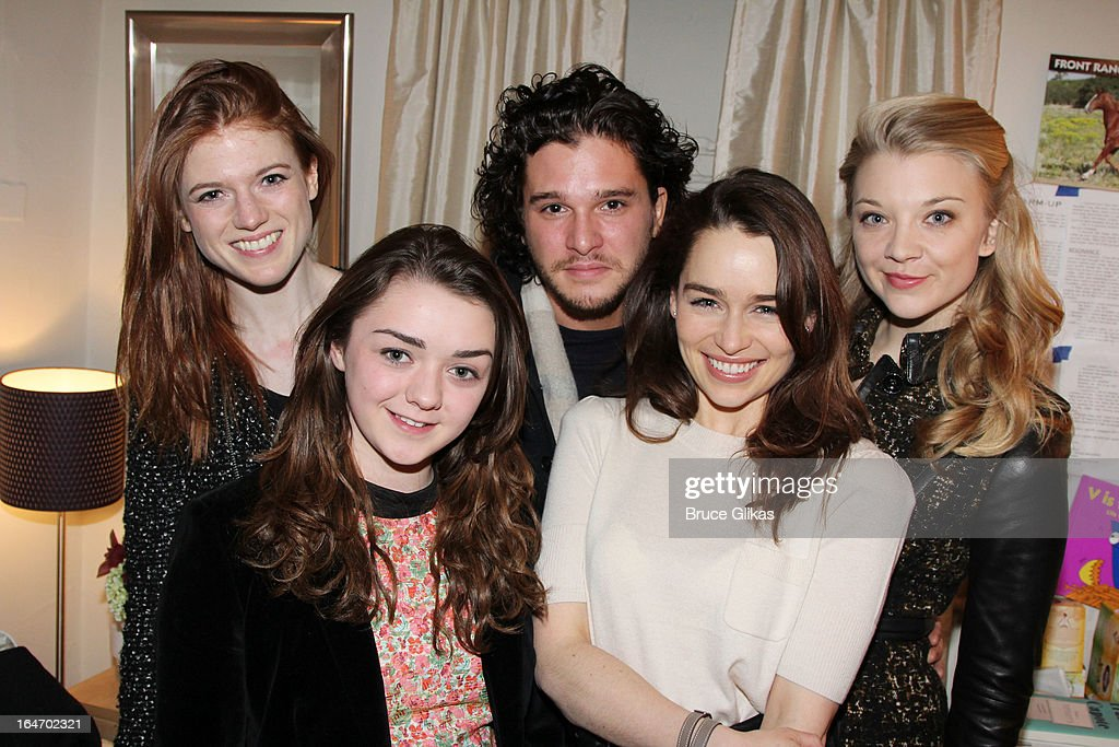 Rose Leslie, Maisie Williams, Kit Harington, Emilia Clarke and Natalie Dormer (the cast of HBO's 'Game Of Thrones') pose backstage at the play 'Breakfast at Tiffanys' (Emilia Clarke is starring in it) on Broadway at The Cort Theater on March 26, 2013 in New York City.