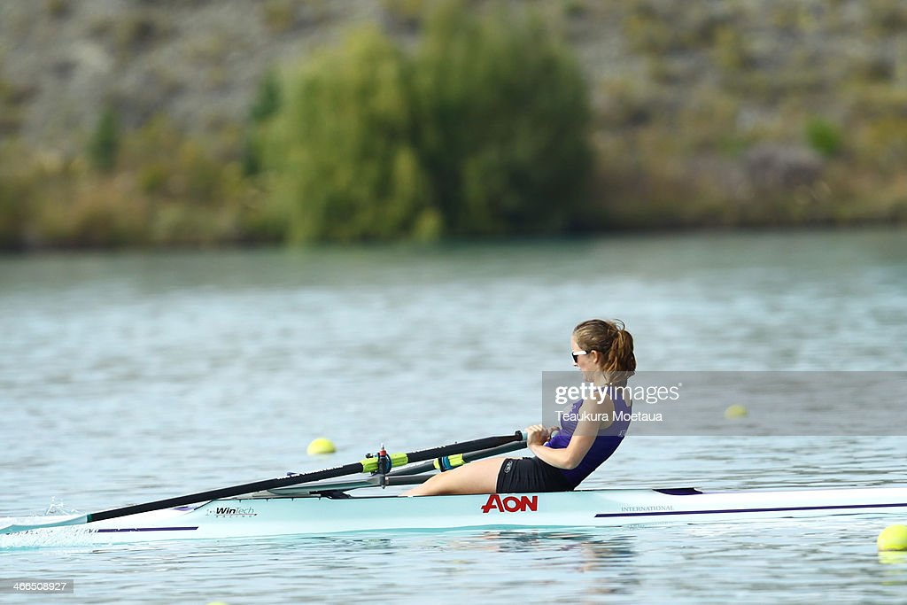 Rose McEwen of Cure BC competes in the Girls under17 single sculls final during the South Island Club Championships at Lake Ruataniwha on February 2...