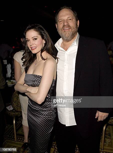 Rose McGowan and Harvey Weinstein during 2007 ShoWest Award Ceremony CocaCola Green Room and Backstage at Paris Hotel in Las Vegas Nevada United...