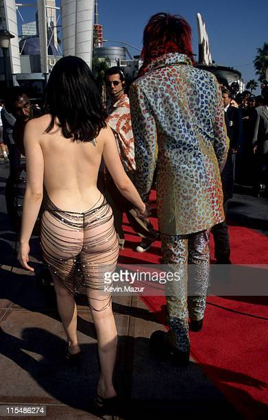 Rose McGowan and Marilyn Manson during 1998 MTV Video Music Awards at Universal Amphitheatre in Universal City California United States