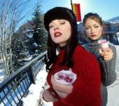 Rose McGowan and Rebecca Gayheart during 1999 Sundance Film Festival 'Jawbreaker' Portraits at Outside Zoom Restaurant on Main Street in Park City...