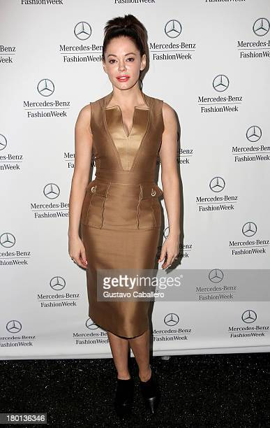 Rose McGowan attends Day 5 of MercedesBenz Fashion Week Spring 2014 at Lincoln Center for the Performing Arts on September 9 2013 in New York City