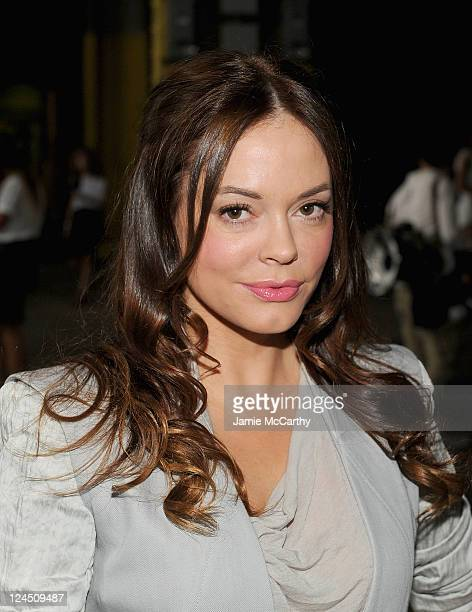 Rose McGowan attends the Helmut Lang Spring 2012 fashion show during MercedesBenz Fashion Week at Hudson River Park's Pier 57 on September 10 2011 in...