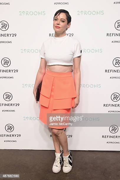 Rose McGowan attends the Refinery29 presentation of 29Rooms a celebration of style and culture during NYFW 2015 on September 10 2015 in Brooklyn New...