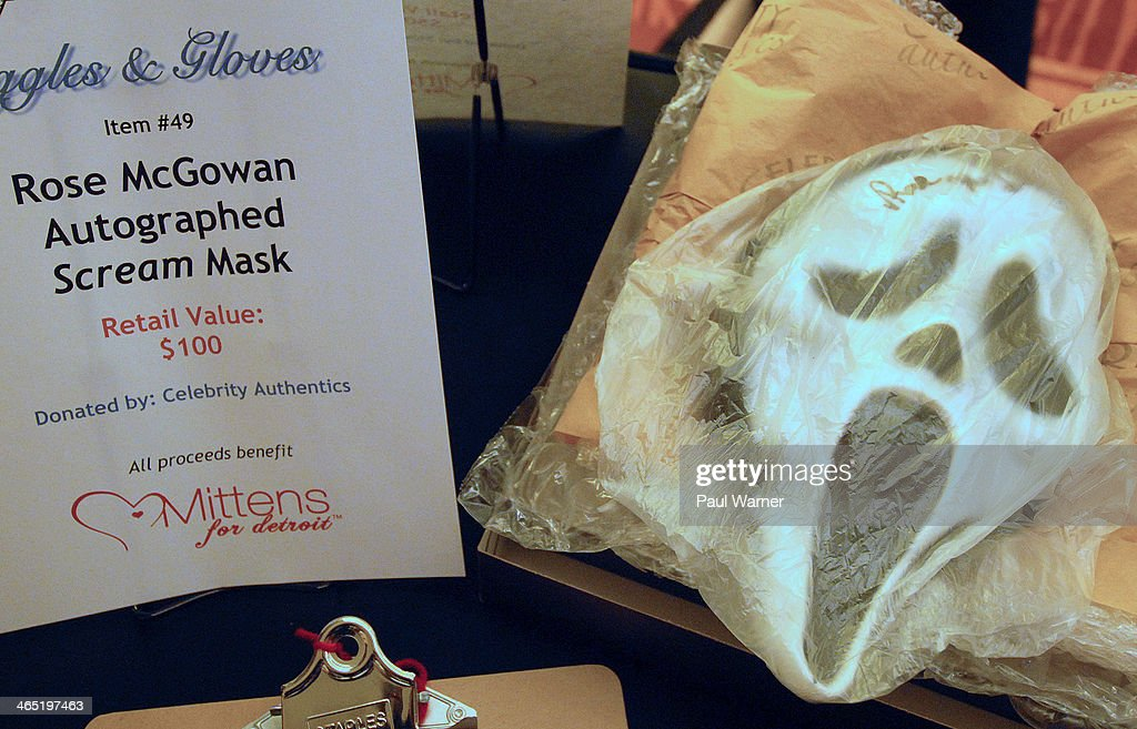 A Rose McGowan autographed 'Scream' mask is seen at a silent auction at attends Mittens for Detroit's 4th annual night of Giggles and Gloves at MGM Grand Hotel on January 25, 2014 in Detroit, Michigan.