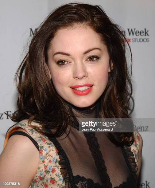 Rose McGowan during MercedesBenz Spring 2005 Fashion Week at Smashbox Studios Day 3 Arrivals at Smashbox Studios in Culver City California United...
