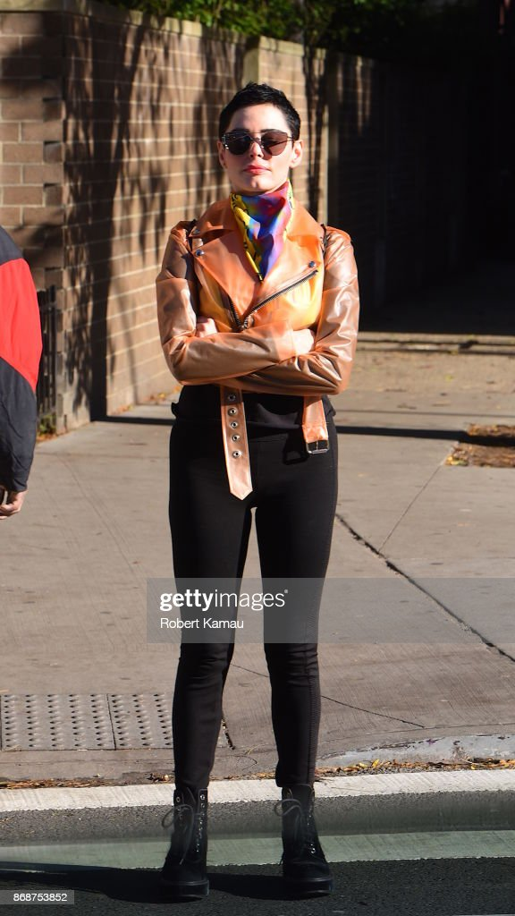 Rose McGowan seen out and about in Manhattan on October 31, 2017 in New York City.