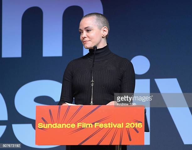 Rose McGowan speaks onstage at the Sundance Film Festival Awards Ceremony during the 2016 Sundance Film Festival at Basin Recreation Field House on...