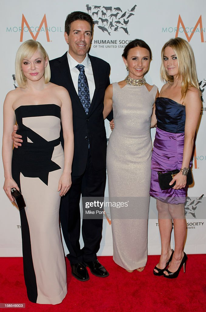 Rose McGowan, Wayne Pacelle, Georgina Bloomberg and Amanda Hearst attend The Humane Society of the United States presents the To The Rescue! gala benefiting post hurricane Sandy efforts at Cipriani 42nd Street on December 18, 2012 in New York City.