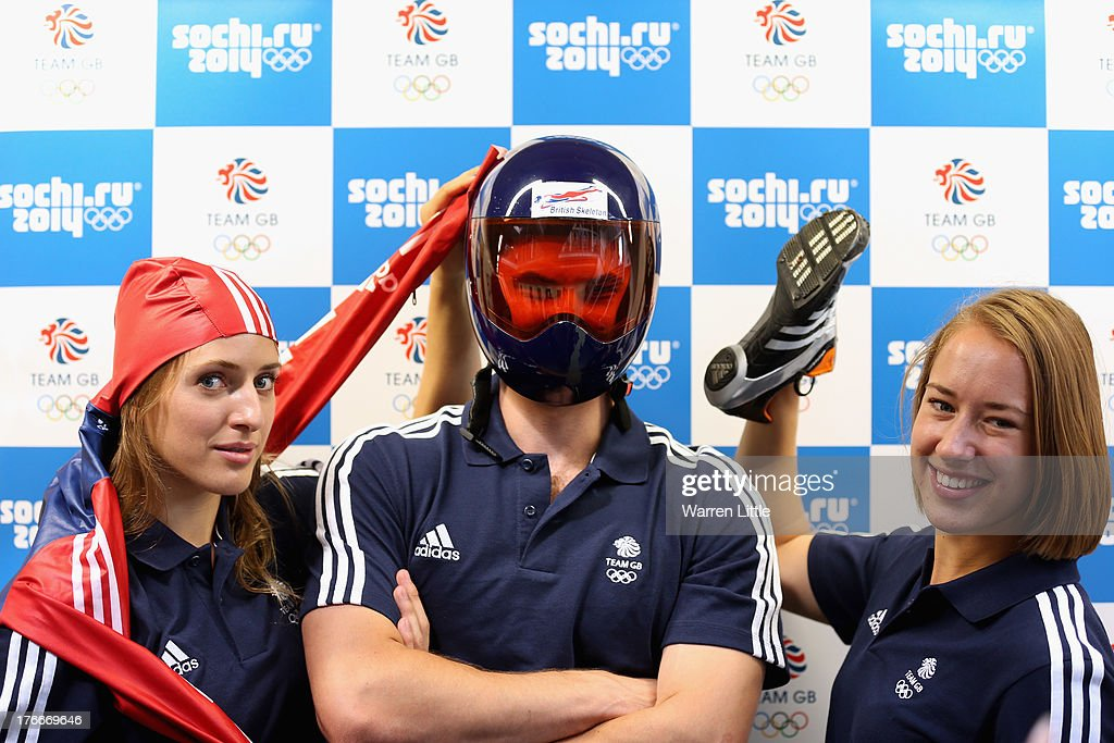 Rose McGradle, Ed Smith and Lizzy Yarnold of the British Winter Olympic Skeleton Team poses for a picture during the Team GB Winter Olympic Media Summit at Bath University on August 9, 2013 in Bath, England.