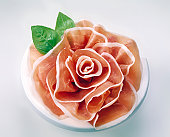 Prosciutto of Parma composed as a flower