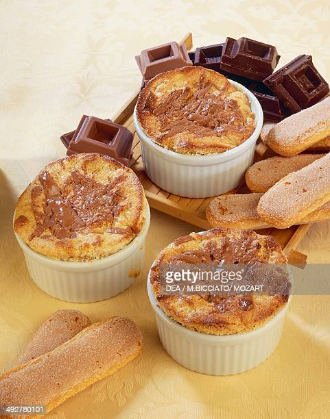 Rose oil Savoy souffle with chocolate